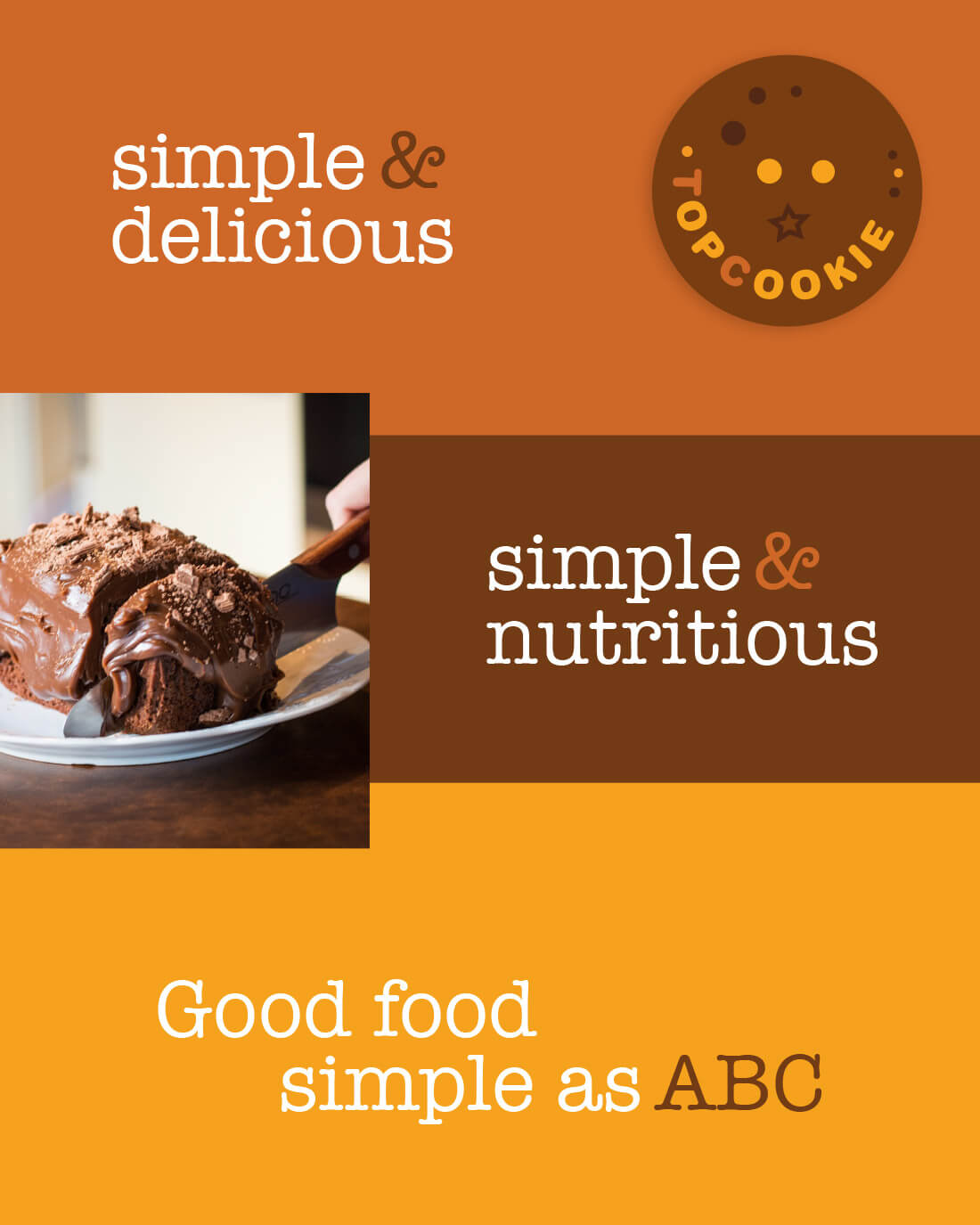 Alphabake Cookery messaging, simple and delicious, simple and nutritious, Good food simple as ABC