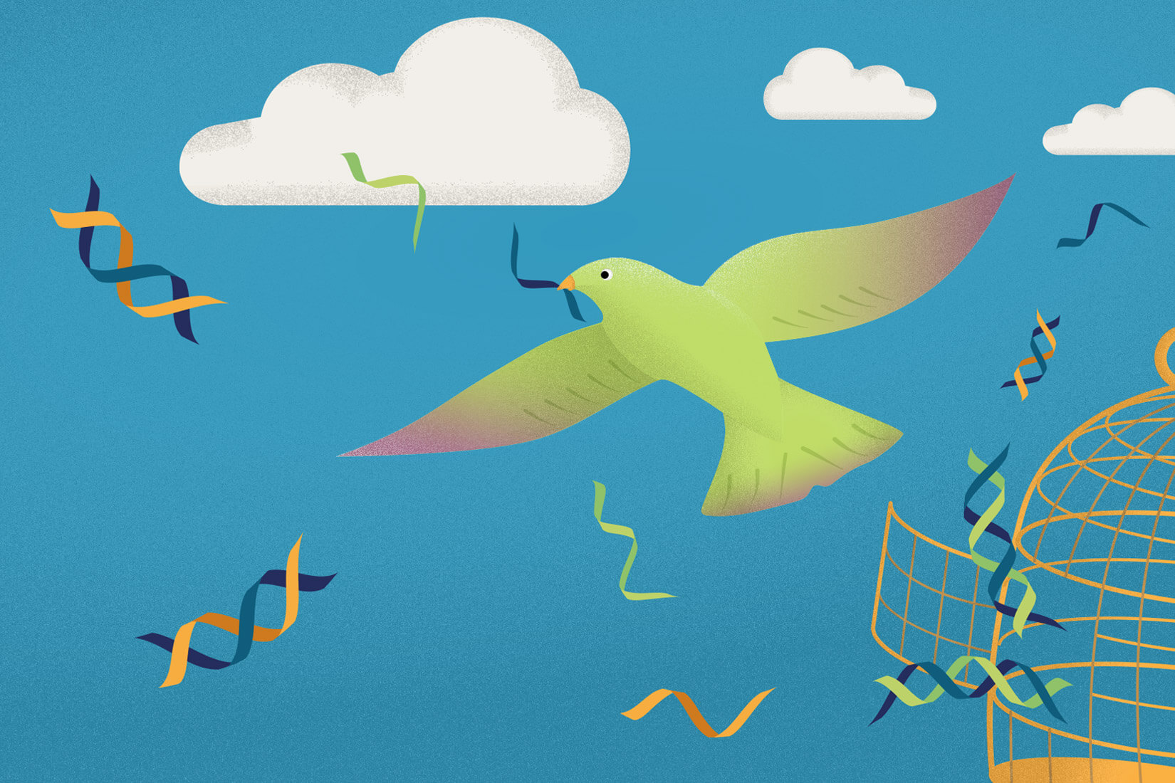 Green flying free bird illustration with DNA strand in it's beak