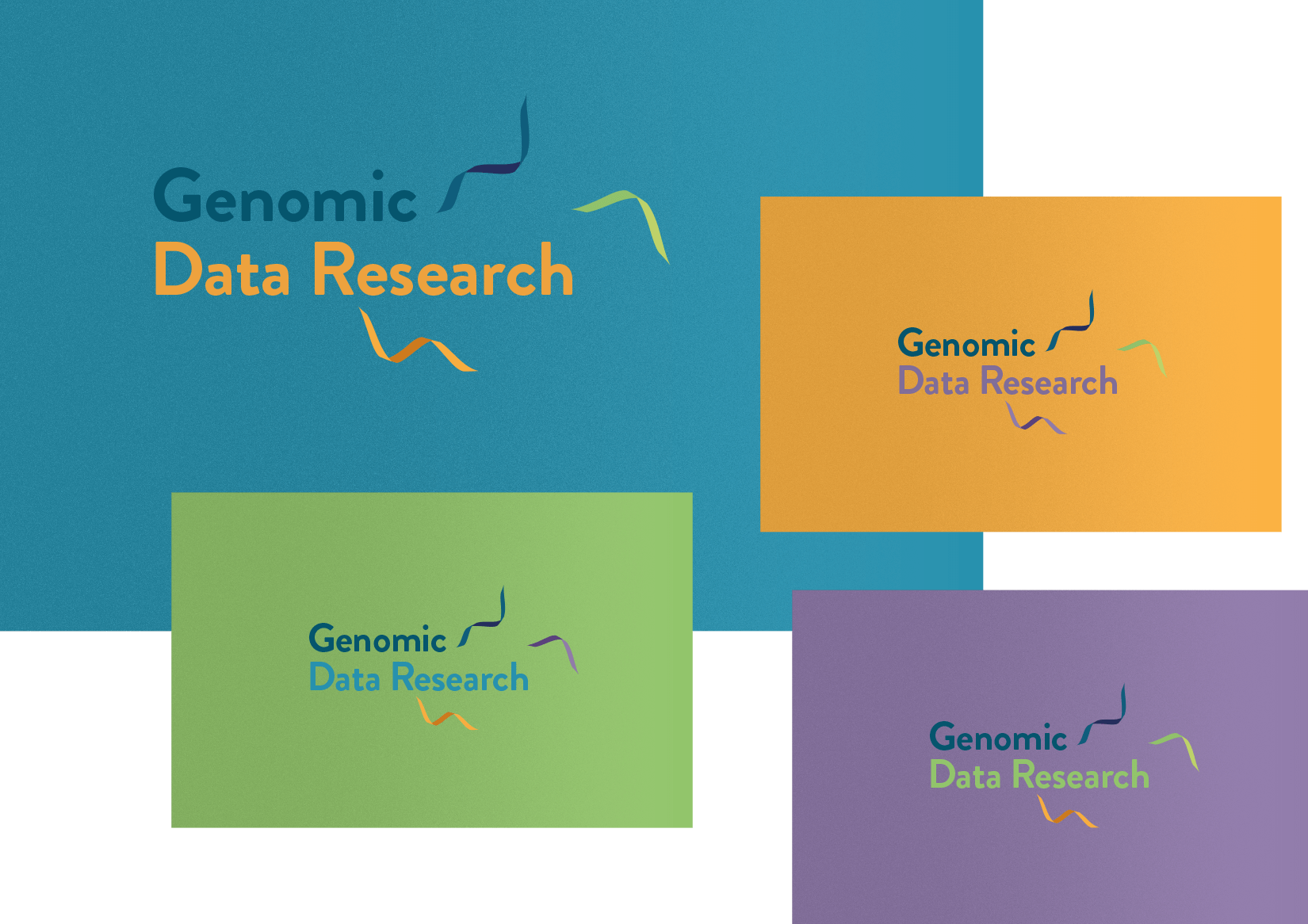 Genomic Data logo identity with floating DNA strands in four colour ways blue, yellow, green, purple