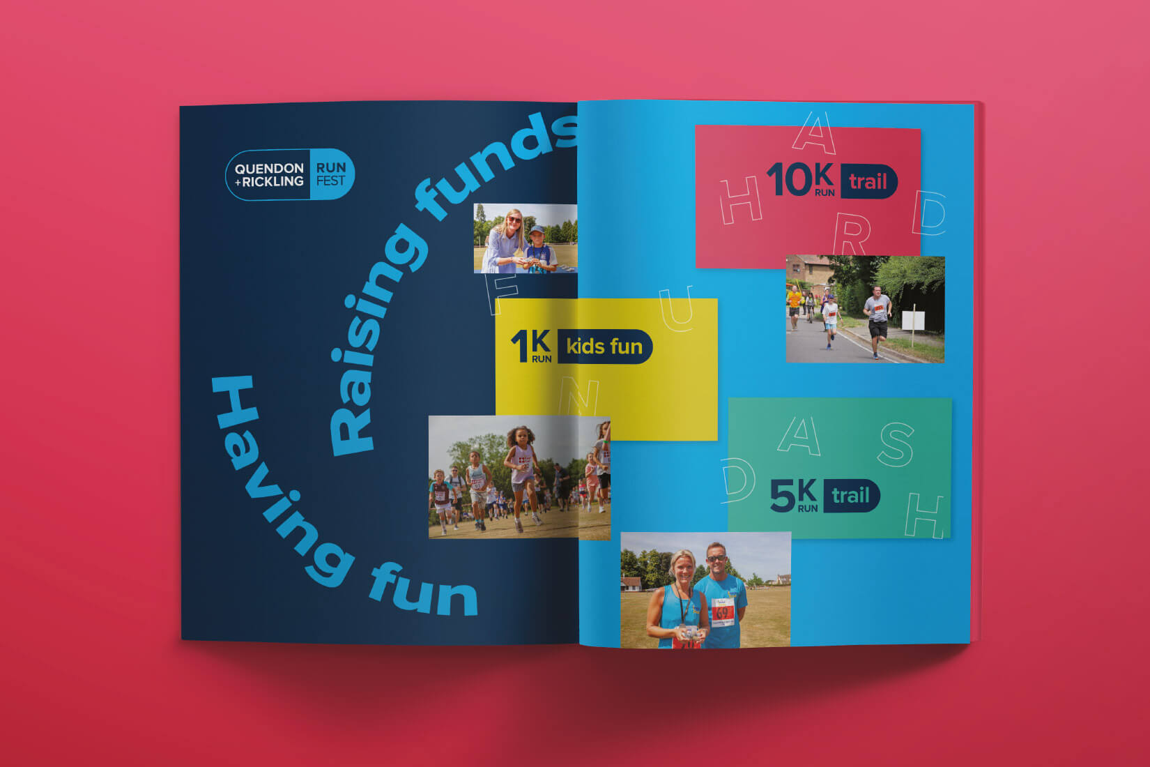 Quendon and Rickling Run Fest print publication with people running and Raisng Funds while Having Fun