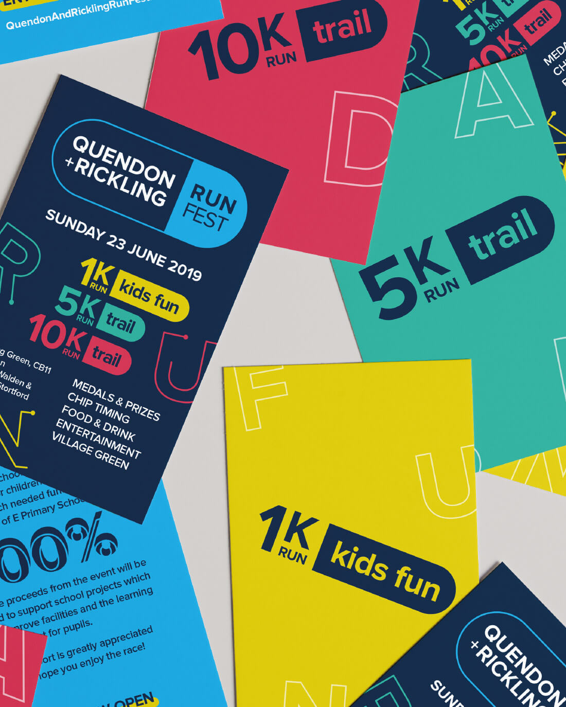 a6 information flyer and 1k, 5k and 10k promo cards